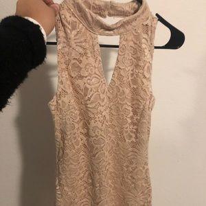 Gold sparkle lace dress